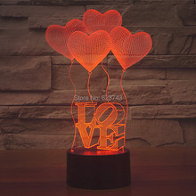 Free Shipping 7 Color changing LOVE HEART 3D acrylic LED Night Light with USB Balloon table Lamp of lamparas 3d leds