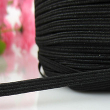 "100yard Wide 1/8"" Black Elastic Braided Soft Knitted Braided Elastic For Sewing Craft Embellishments 3.0mm(China)"