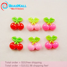Cute Resin Cherry fruits kawaii resin flatback cabochon Accessories scrapbooking Fit Phone Embellishments 50pcs 18*18mm  DIY023