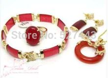 HOT SELL - Wholesale JWEW6529 Red Natural stone Women Dragon Pendant Necklace Bracelet Earrings Ring Set (A0511) -Top quality