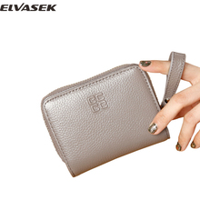 ELVASEK Women wallet genuine leather fashion short zipper & hasp wallet popular higquality casual concise universal purseA3708/i(China)