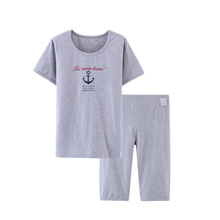 2017 Children Summer Clothing Boys Casual Cotton Outfit Kids Sailor Pajamas Set Homewear Short Sleeve T Shirt Middle Pants 3-16Y
