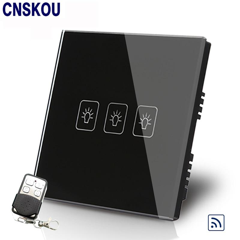 Cnskou Manufacturer UK 3Gang1Way Remote Control Touch Switch  AC110V~250V Black Crystal Glass Panel with LED Indicator <br>
