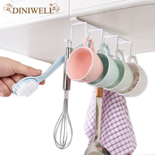 DINIWELL 1 PCS Cabinet Bottom Rack Cup Shelf Kitchen Iron 6 Coat Hook Hang Tie Organizer Storage Racks(China)