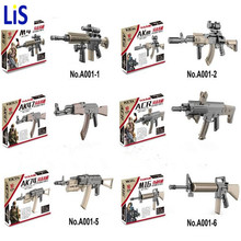 Lis military WW2 weapon Building Block mini Bricks rifle Sniper rifle Submachine gun M4 AK47 M16 AK74 Building Blocks lepin Toys