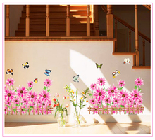 Free shippingnew fashion products Dream Garden home decorative wall sticker decals Grass Flower Butterfly Fencer 766AB(China)