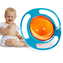 1PC Creative Gyroscope Baby Bowl Non Spill Eat Food Snacks Bowl Universal 360 Rotate Funny Gif KC1527(China)