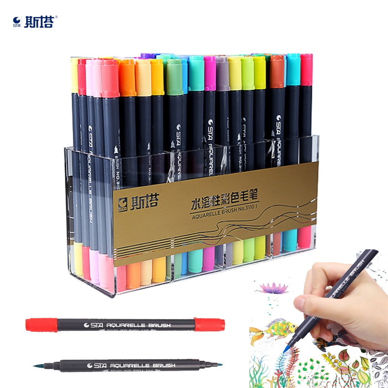 12/24/36/48/80 Colors Double Head Artist Soluble Colored Sketch Marker Brush Pen Set For Drawing Design Paints Art Supplies