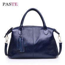 PASTE Casual Soft Genuine Cow Leather Handbag Designer Inspired Famous Brands Tassel Large Capacity Crossbody Shoulder Women Bag