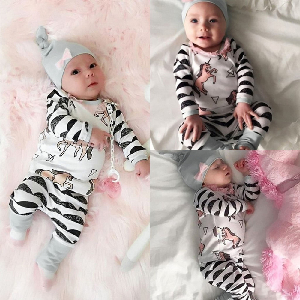Hot! Newborn Cute Horses Pattern Baby Boy Girls Bodysuits + Long Pants + Casual Hat 3PCS Outfits Set Baby Clothes New Sale<br><br>Aliexpress