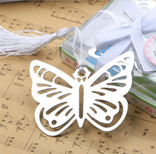 100 pcs Practical Reading Essential Metal Butterfly Bookmark With Tassels Boxed Picture Color