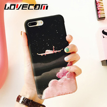LOVECOM Lovely Cartoon Aircraft Stars Phone Case For iphone 5 5S SE 6 6S 7 8 Plus Hard Matte PC Cool Planet Back Cover Coque(China)