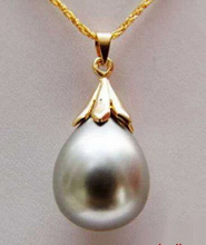 Wholesale >>> Gray Grey South Sea Shell Pearl Drop Pendant Yellow Plated Pendant Necklace(China)