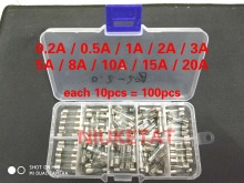 100pcs 5*20mm Electrical Assorted Fuse Amp Fast-blow Glass Fuse Mix Set Assorted With Box 0.2A 0.5A 1A 2A 3A 5A 8A 10A 15A 20A