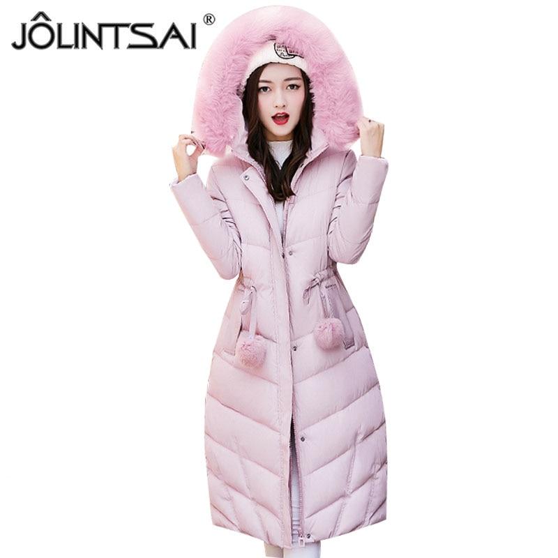 JOLINTSAI Winter Parkas Jackets 2017 Women Coat Casual Wadded Cotton-padded Long Winter Jacket Women Hooded Coats OutwearÎäåæäà è àêñåññóàðû<br><br>