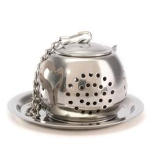 1pcs Stainless Steel Teapot Shape Tea Leaf Infuser With Tray Convenient Home Kitchen Loose Spice Drinking Strainer Herbal Filter(China)