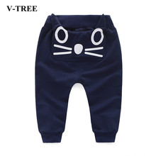 V-TREE Children Harem Pants Smile PP Pants For Girls Boys Trousers Cotton Baby Jogger Stere Ear Sweatpants Kids(China)