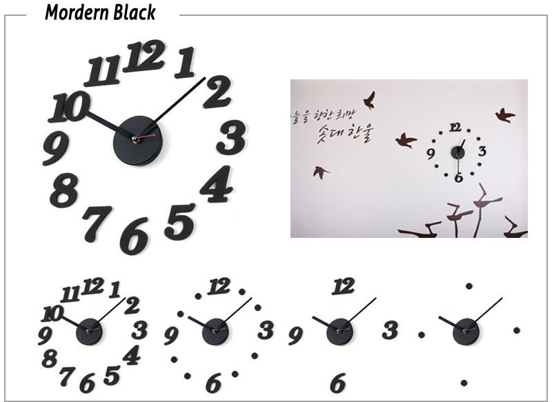 Wall Clock Home Decorate & Accents DIY Adhesive  DIY clock Black Free shipping