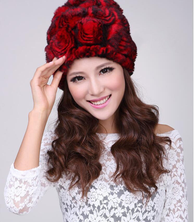 New Fashion Rex Rabbit Fur Hat Autumn Winter Fashion Cute Ladies Knitted Hat Ladys Korean Style Wool Cap Femal Free ShippingОдежда и ак�е��уары<br><br><br>Aliexpress