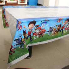 1Pc Disposable Table Cloth Cartoon Pawed Patrolling Dog Table Cover Tablecloth Kid Boy Happy Birthday Party  180*108cm