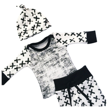 ABWE Best Sale Newborn Toddler Baby Boy Girl Long Sleeve Tops+Pants Hat 3 Pcs Outfit Set Clothes black+white Size 80 (for 6-12
