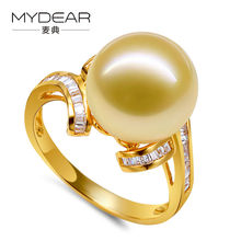 MYDEAR Fine Pearl Jewelry Natural 11-12mm Golden Southsea Big Pearl Ring Trendy Bridal Wedding Yellow Gold Rings,High Luster