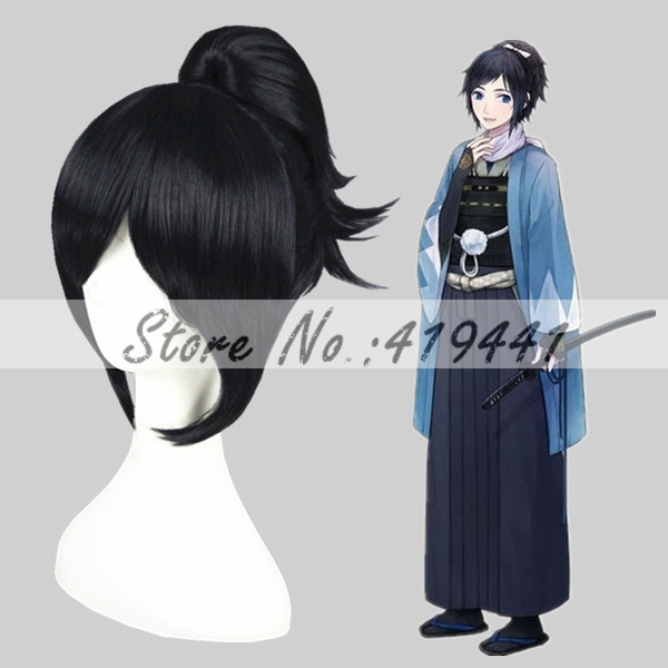 Free Shipping 32cm Short yamatonokami yasusada Wig Cosplay Black and Blue Mixed Synthetic Anime Ponytail Wig Cosplay Hair Wig<br><br>Aliexpress