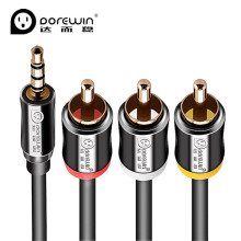 Dorewin AV cable 3.5 Male to 3RCA Male Composite Audio Video 3.5mm Gold plated Jack Cable Plug 3X RCA Retail & Wholesale 1.5m 3m