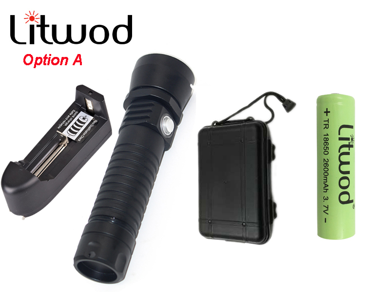 Litwod z30D26 Diving Led Flashlight Torch Light XM-L L2 ON / OFF Stepless Dimming Waterproof Underwater 150m Charger Battery Box<br>