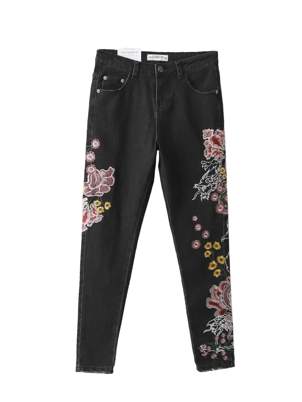 2017 Vintage Colorful Elastic Floral Chinese Dragon Embroidery Washed Denim Jeans Pockets Pants Casual Women Black Trousers Одежда и ак�е��уары<br><br><br>Aliexpress