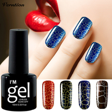 Verntion Nail Art UV LED Lamp 12 Colorful Crackle Gel Nail Polish Soak off New Arrival Cracking Shatter Gel Lacquer(China)