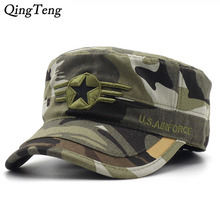 2017 Army camouflage Flat Top Mens Caps Hat Adjustable Star embroidery Cotton Cap Baseball Casual Military Hats For Men