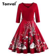 Tonval Stunning Vintage Style Women Swans Print Dress Plus Size 4XL Belted Red Dress Winter Autumn Christmas Party Dresses