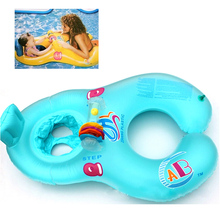 Safe Soft Inflatable Mother & Baby Float Swim Ring Kids Seat Double Person Swimming Pool 4 Colors(China)