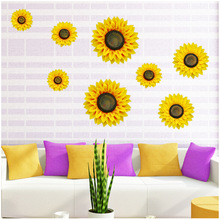 Zilue 4pcs/Set Creative Stereoscopic Simulate Cloth Sunflower Wall Sticker Warm And Romantic Living Room Bedroom Decoration(China)