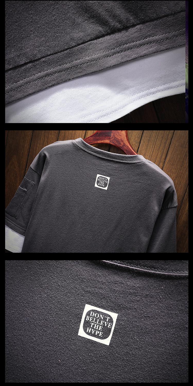 Men's Short Sleeve T-shirt 5-5 Sleeve Summer Korean Fashion Hip-hop Fake Two Loose Chao Brand 7-Sleeve Half Sleeve male MP191 21