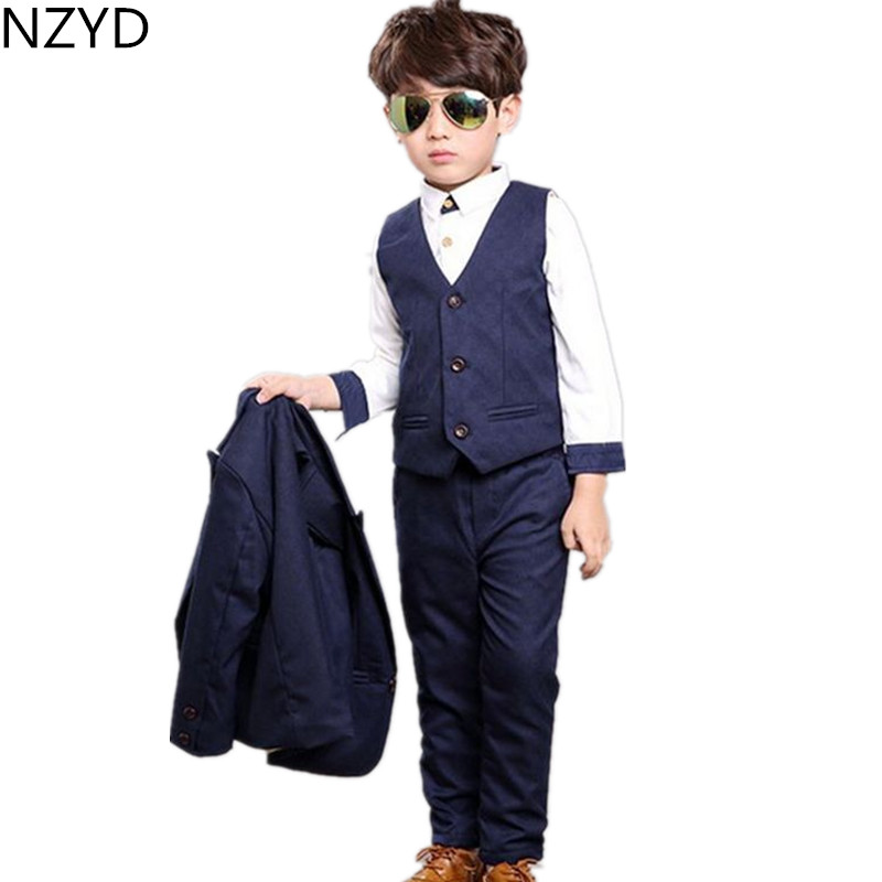 New Fashion Autumn Winter Boy Suit Clothes Handsome Formal Dress Vest Three-Piece Suit Pure Color Long Sleeve Child Suit HL0378(China (Mainland))