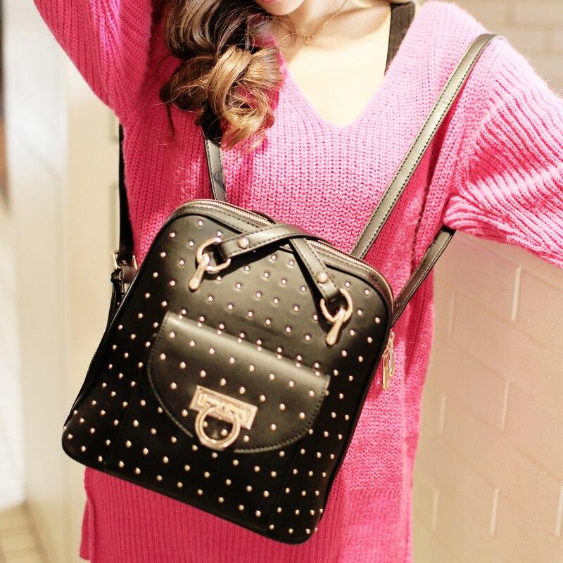 2017 womens  rivet backpack vintage preppy style backpack, high quality brand design  school bag shoulder bag for women<br><br>Aliexpress