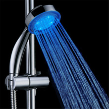 ABS Plastic Chrome and Multifunctional blue Color Changing LED Hand Shower Head China with color box