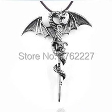 New retro Europe domineering titanium steel cross dragon wing pendant necklace leading jewelry for men free shipping