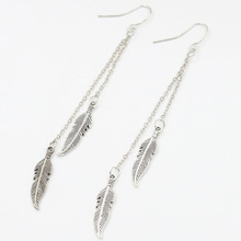 New Arrival Antique Silver Gold Color Long Chain Hanging Earrings Tassel Feather Boho Pending Earring For Women Ear Jewelry