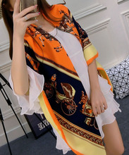 Classic Vintage Carriage Women Scarf Elegant Lady Big Square Scarfs Spring Warm Shawl Summer Sun Block Pashmina Twill Silk Wrap(China)