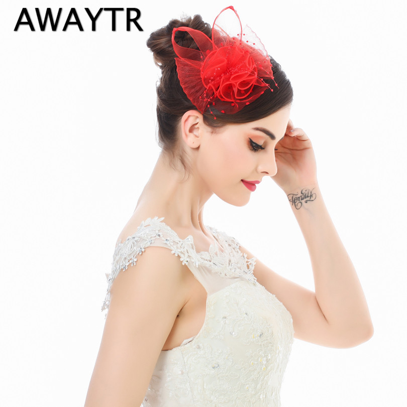 2017 Ladies Elegant Wedding Hair Accessories Bridal Fascinator Cocktail Hat for Party New Veil Pearl Black White Headdress(China (Mainland))