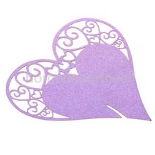 50 Heart Wine Glass Place Cards Wedding Name Party Table Decor Favor Purple