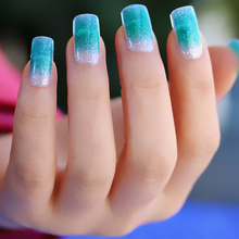 Nail Polish Stickers Wraps Art Decorations Bling Silver Light Blue Gradient Elegant Design Adhesive Minx Beauty