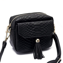 Simple Alligator Crocodile Leather Mini Small Women Crossbody bag Tassel Fringed Messenger Shoulder Bag Purse Handbag  F40-848