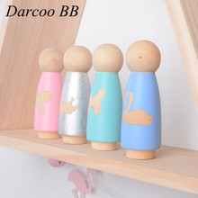 8Pcs/Lot Baby Girls Toys Natural Wooden Creature Blocks Cute DIY Wood Peg Dolls 10*3.5*3.5CM(China)