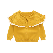New Spring and Autumn Toddlers Girls Sweater Big Ruffles Collar Kids Clothing Infants Knitting Cardigan Sweet Girls(China)