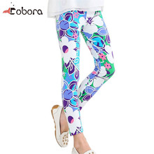 Summer Autumn Children Collocation Baby Kids Girls Leggings Pants Flower Floral Printed Elastic Long Trousers 2-14Y