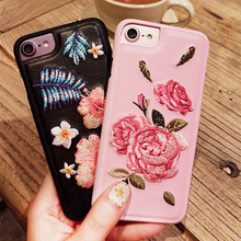 Retro China Style Embroidery Rose Flower Leather Phone Cover Coque for iPhone 6 Case 6s 7 Plus Capa Cellphone Accessories